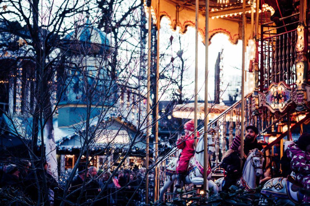 Christmas market in the Tivoli Gardens in Copenhagen