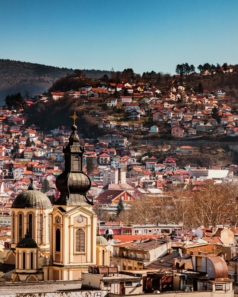 Interrail in Bosnia and Herzegovina through the capital city Sarajevo